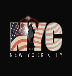 The letters nyc with the image of american flag vector