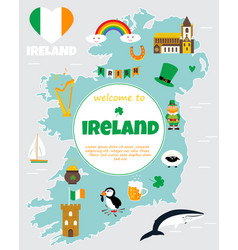 Tourist map of ireland with landmarks and symbols vector