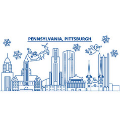 Usa pennsylvania pittsburgh winter city skyline vector