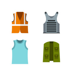 vest icon set flat style vector image