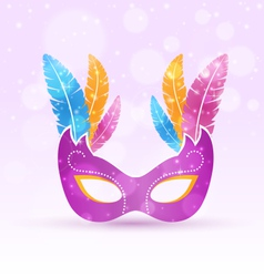 Violet carnival flat mask with multicolored vector image