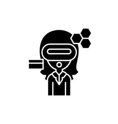 virtual reality business black icon sign vector image