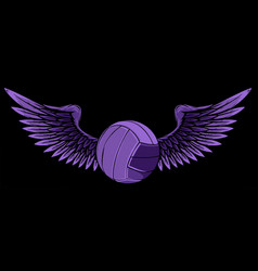 Volleyball ball logo with long wings vector