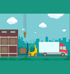 warehouse with boxes and containers vector image