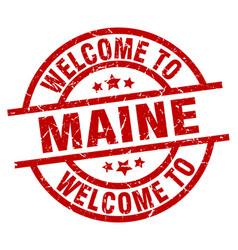 welcome to maine red stamp vector image