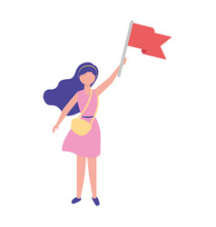 Woman holding red flag success vector