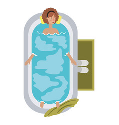 Young woman in bathtub avatar character vector