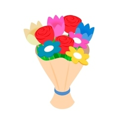 Bouquet of spring flowers isometric 3d icon vector image vector image