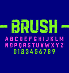 brush style modern font alphabet and numbers vector image