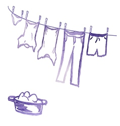 clean underwear drying on the rope is wet in the p vector image