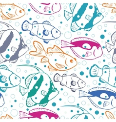 Colorful fish seamless pattern background vector image