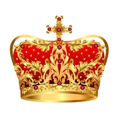 Royal gold crown with red precious stones vector