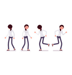 set of female clerk in walking and running poses vector image vector image