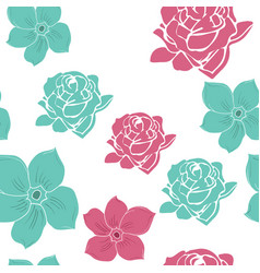 3 color hand drawn flower seamless pattern vector image