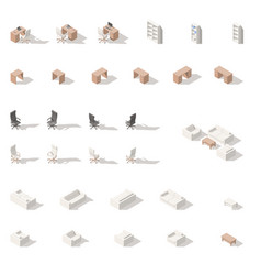 cabinet or workplace low poly isometric icon set vector image