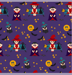 halloween seamless pattern with kids in vector image
