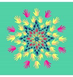 Human hands mandala vector image vector image