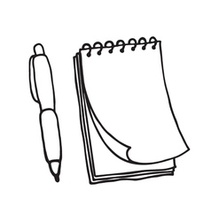 Note pad and pen icons Outlined vector image