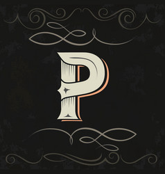retro style western letter design letter p vector image vector image