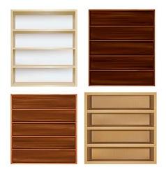 Set Empty Bookshelf vector image