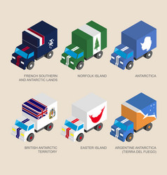 Set of isometric 3d cargo with flags vector