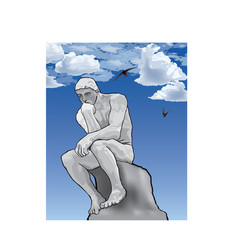 thinker man concept the thinker statue by the vector image
