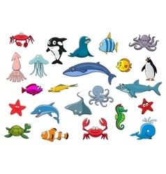 Cartoon sea fish and ocean animals icons vector image vector image