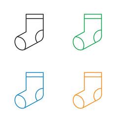 christmas socks icon line style vector image