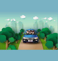 family driving in car vector image vector image