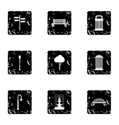 Garden equipment icons set grunge style vector image vector image