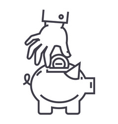 hand put coin in pig bank line icon sign vector image
