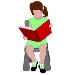 Little girl reading book vector