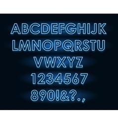 Neon tube light letters font vector