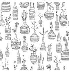 seamless repeating pattern of vases with ornaments vector image vector image