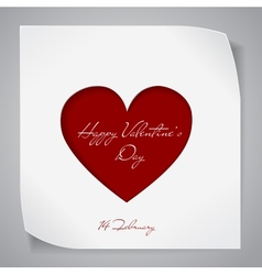 Valentines Day background with red cutting heart vector image vector image