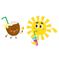 cute funny coconut and sun characters talking vector image