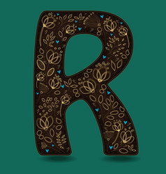 letter r with golden floral decor vector image vector image