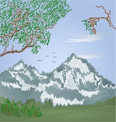 Mountains spring landscape with flying cranes vector image vector image