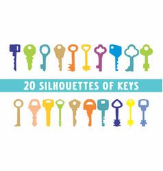 20 set of vintage keys shape vector image