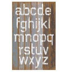 alphabet white color paint on wood retro color vector image