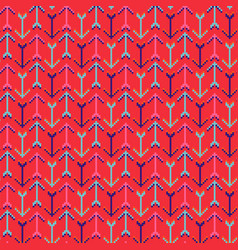 Arrows red geometric seamless pattern pixelart vector