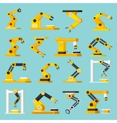 Automation conveyor orthogonal flat icons set vector