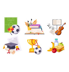 back to school elements set education school vector image