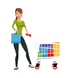Beauty woman standing cart shopping gifts concept vector