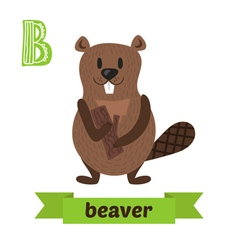 Beaver B letter Cute children animal alphabet in vector image