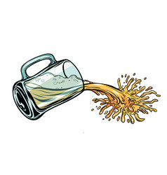 beer is poured from mug vector image