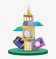 Big bag monument to travel visit vector