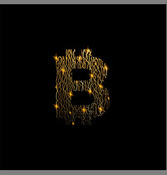 bitcon symbol like golden lines structure on black vector image