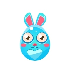 Blue egg shaped easter bunny vector