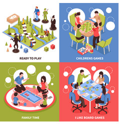 Board games isometric design concept vector